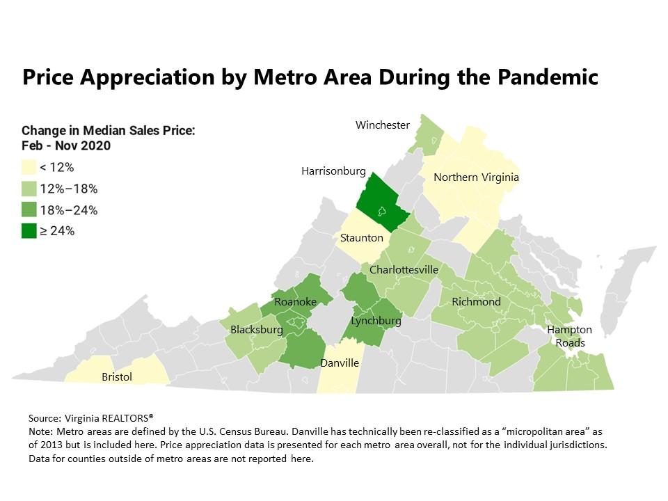 Price appreciation by metro area during the pandemic is depicted. This appreciation is leading to pricing challenges for buyers in 2021.